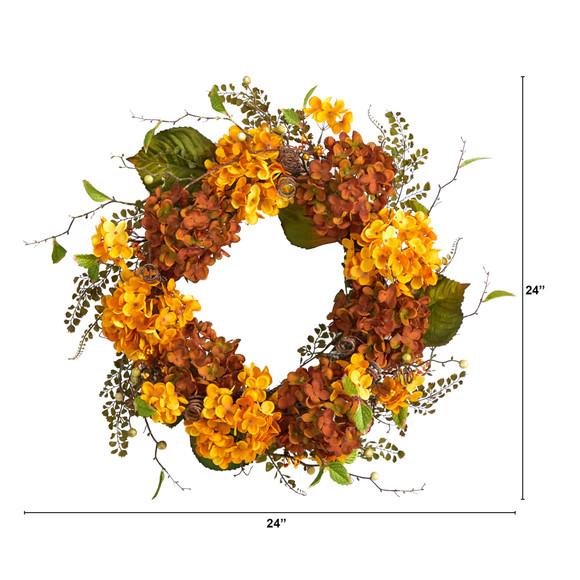 24 Fall Hydrangea Artificial Autumn Wreath - SKU #W1240 - 1