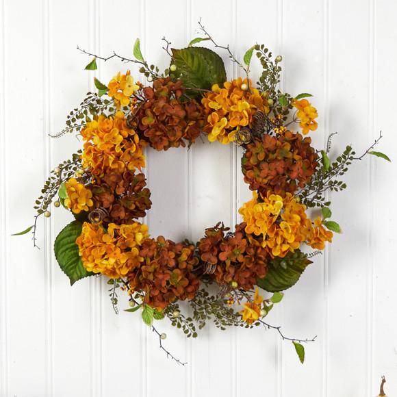 24 Fall Hydrangea Artificial Autumn Wreath - SKU #W1240 - 2