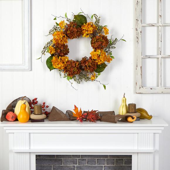 24 Fall Hydrangea Artificial Autumn Wreath - SKU #W1240 - 3