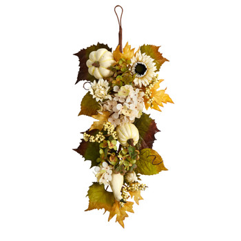 33 Fall Sunflower Hydrangea and White Pumpkin Artificial Autumn Teardrop - SKU #W1241