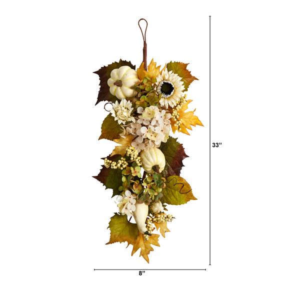 33 Fall Sunflower Hydrangea and White Pumpkin Artificial Autumn Teardrop - SKU #W1241 - 1