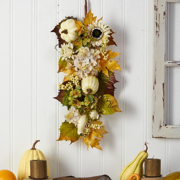 33 Fall Sunflower Hydrangea and White Pumpkin Artificial Autumn Teardrop - SKU #W1241 - 2