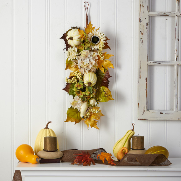 33 Fall Sunflower Hydrangea and White Pumpkin Artificial Autumn Teardrop - SKU #W1241 - 3