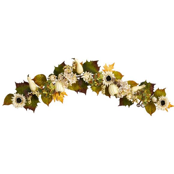 5 Fall Sunflower Hydrangea and White Pumpkin Artificial Autumn Garland - SKU #W1242