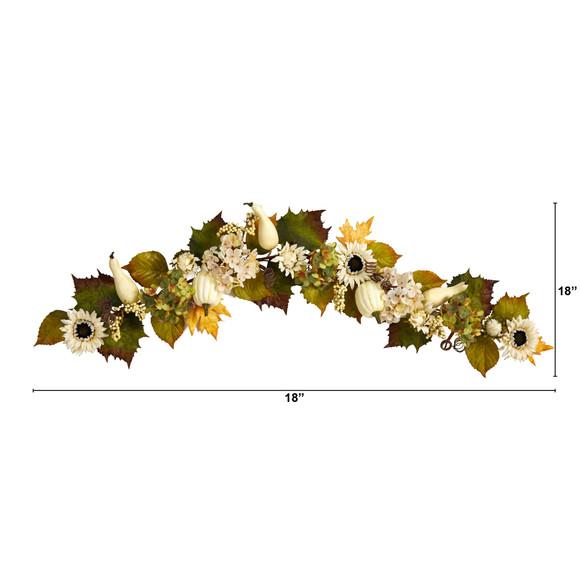 5 Fall Sunflower Hydrangea and White Pumpkin Artificial Autumn Garland - SKU #W1242 - 1