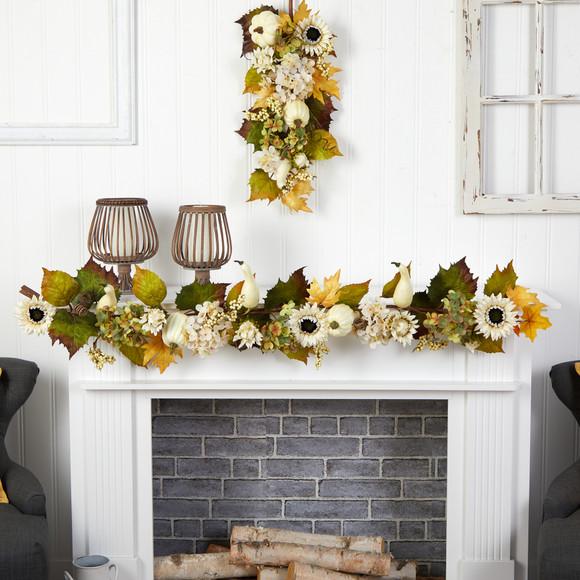 5 Fall Sunflower Hydrangea and White Pumpkin Artificial Autumn Garland - SKU #W1242 - 2