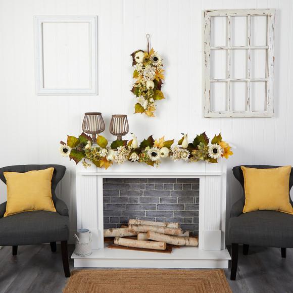 5 Fall Sunflower Hydrangea and White Pumpkin Artificial Autumn Garland - SKU #W1242 - 3