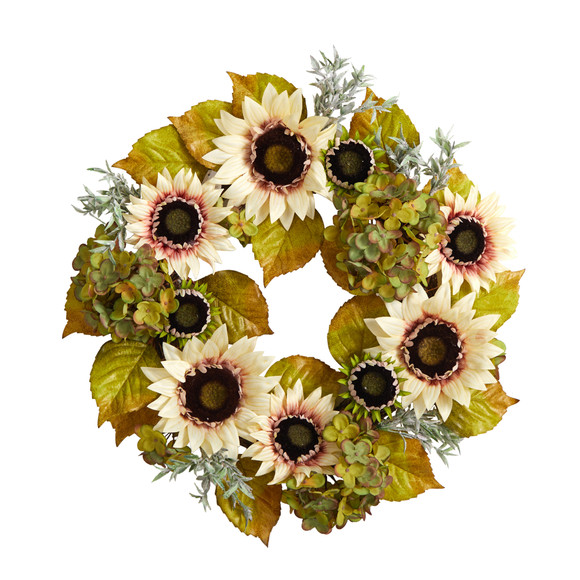 24 White Sunflower and Hydrangea Artificial Autumn Wreath - SKU #W1243
