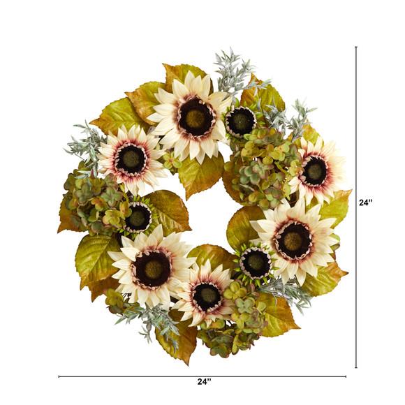 24 White Sunflower and Hydrangea Artificial Autumn Wreath - SKU #W1243 - 1