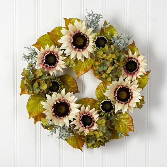 24 White Sunflower and Hydrangea Artificial Autumn Wreath - SKU #W1243 - 2