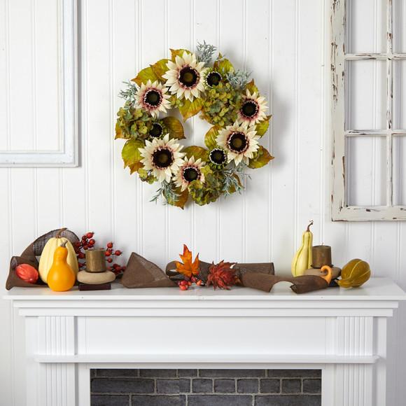 24 White Sunflower and Hydrangea Artificial Autumn Wreath - SKU #W1243 - 3