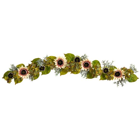 5 White Sunflower and Hydrangea Artificial Garland - SKU #W1244