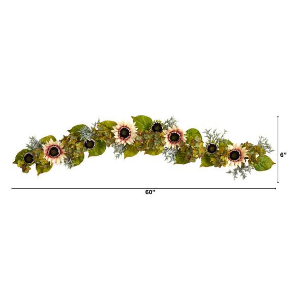 5 White Sunflower and Hydrangea Artificial Garland - SKU #W1244 - 1