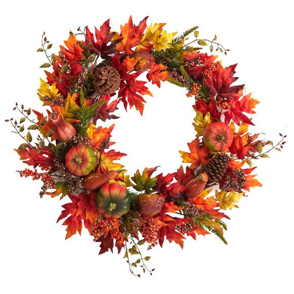 32 Autumn Maple Leaf Pumpkin and Berries Artificial Fall Wreath - SKU #W1246