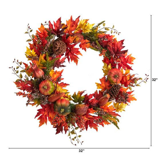 32 Autumn Maple Leaf Pumpkin and Berries Artificial Fall Wreath - SKU #W1246 - 1
