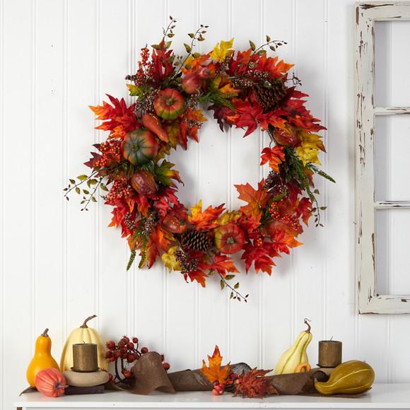 32 Autumn Maple Leaf Pumpkin and Berries Artificial Fall Wreath - SKU #W1246 - 3