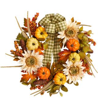 24 Fall Pumpkin Sunflower Artificial Autumn Wreath with Decorative Ribbon - SKU #W1247