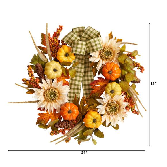 24 Fall Pumpkin Sunflower Artificial Autumn Wreath with Decorative Ribbon - SKU #W1247 - 1