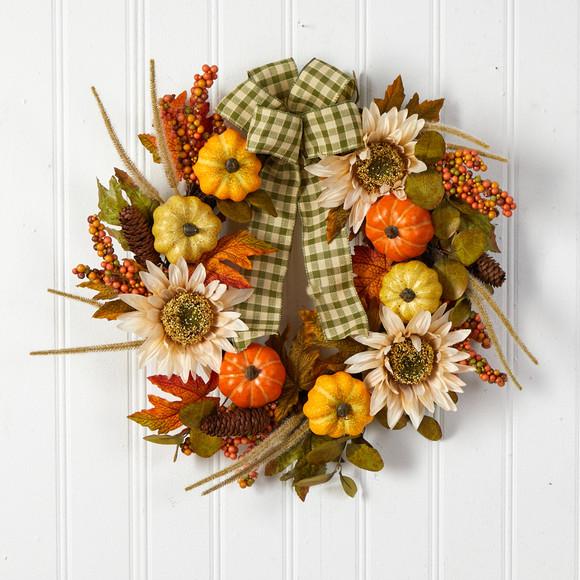 24 Fall Pumpkin Sunflower Artificial Autumn Wreath with Decorative Ribbon - SKU #W1247 - 2