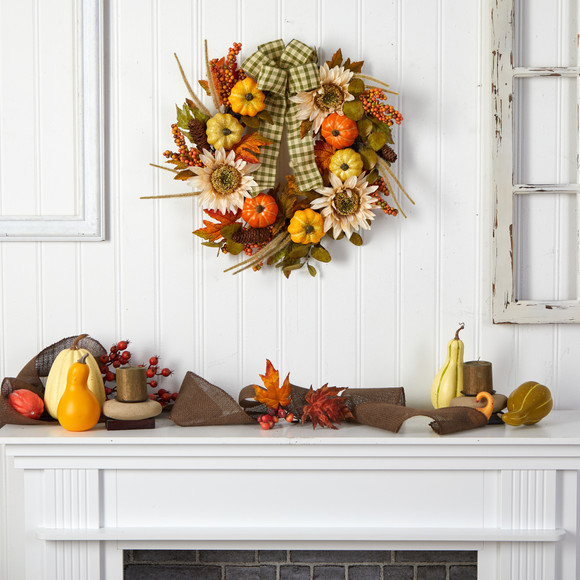 24 Fall Pumpkin Sunflower Artificial Autumn Wreath with Decorative Ribbon - SKU #W1247 - 3
