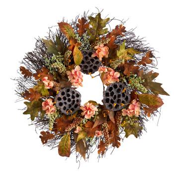 22 Autumn Hydrangea Dried Lotus Pod Artificial Fall Wreath - SKU #W1249