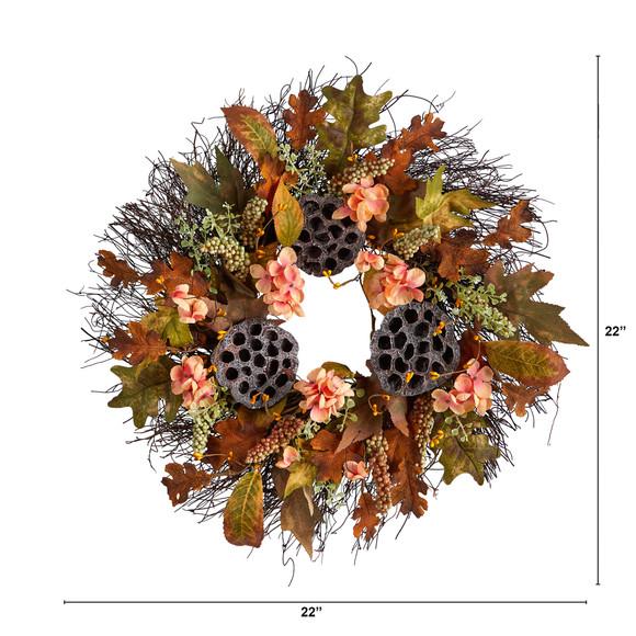 22 Autumn Hydrangea Dried Lotus Pod Artificial Fall Wreath - SKU #W1249 - 1