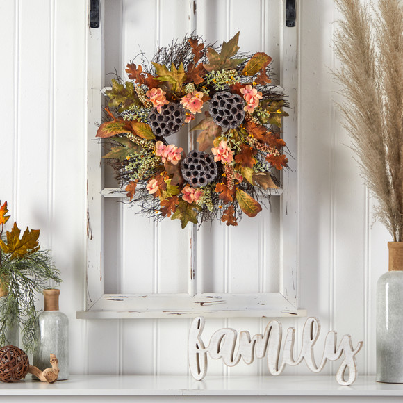 22 Autumn Hydrangea Dried Lotus Pod Artificial Fall Wreath - SKU #W1249 - 2