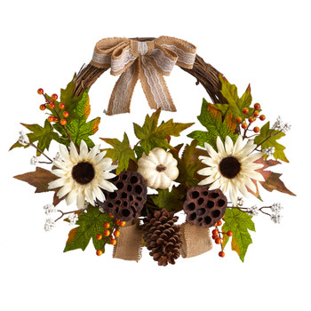 20 Autumn Sunflower White Pumpkin and Dried Lotus Pod Artificial Fall Wreath with Decorative Bow - SKU #W1250
