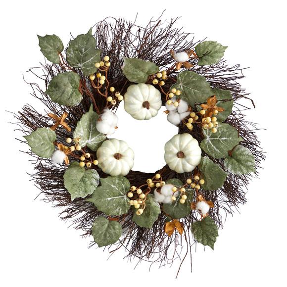 22 Autumn Green Pumpkin Cotton and Berries Artificial Fall Wreath - SKU #W1252
