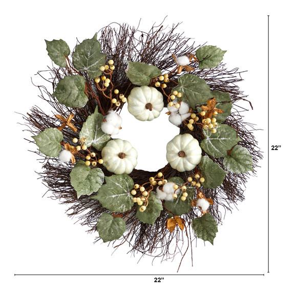 22 Autumn Green Pumpkin Cotton and Berries Artificial Fall Wreath - SKU #W1252 - 1