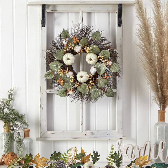 22 Autumn Green Pumpkin Cotton and Berries Artificial Fall Wreath - SKU #W1252 - 2
