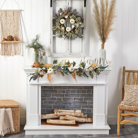 22 Autumn Green Pumpkin Cotton and Berries Artificial Fall Wreath - SKU #W1252 - 3