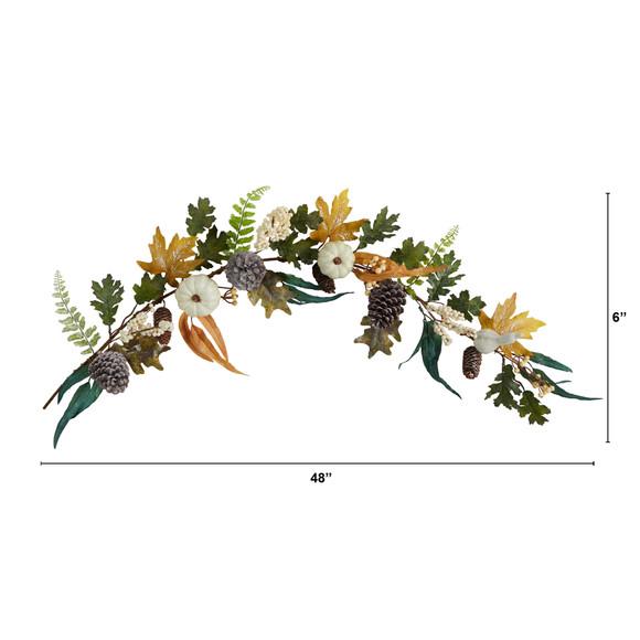4 White Pumpkin Pinecones and Berries Artificial Autumn Garland - SKU #W1253 - 1