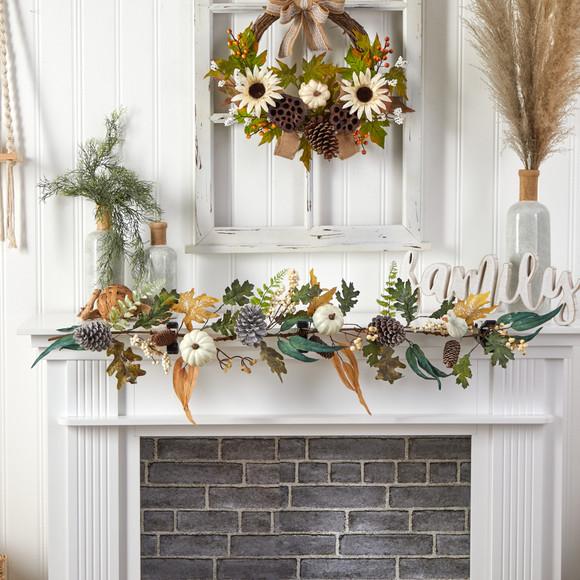 4 White Pumpkin Pinecones and Berries Artificial Autumn Garland - SKU #W1253 - 2