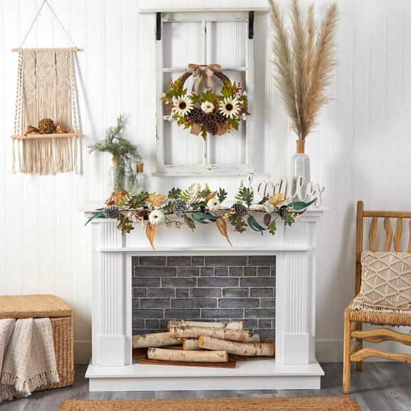 4 White Pumpkin Pinecones and Berries Artificial Autumn Garland - SKU #W1253 - 3