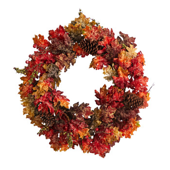 24 Autumn Maple Berries and Pinecone Fall Artificial Wreath - SKU #W1255