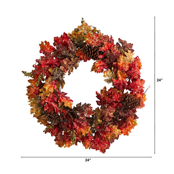 24 Autumn Maple Berries and Pinecone Fall Artificial Wreath - SKU #W1255 - 1