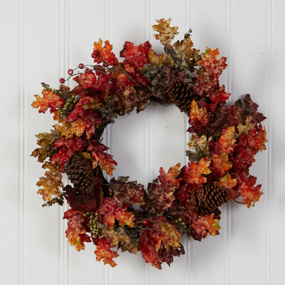 24 Autumn Maple Berries and Pinecone Fall Artificial Wreath - SKU #W1255 - 2