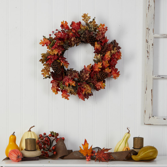 24 Autumn Maple Berries and Pinecone Fall Artificial Wreath - SKU #W1255 - 3