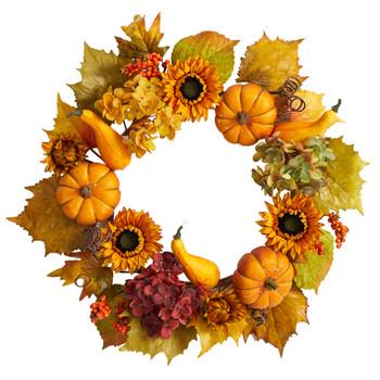 22 Autumn Hydrangea Pumpkin and Sunflower Artificial Fall Wreath - SKU #W1259