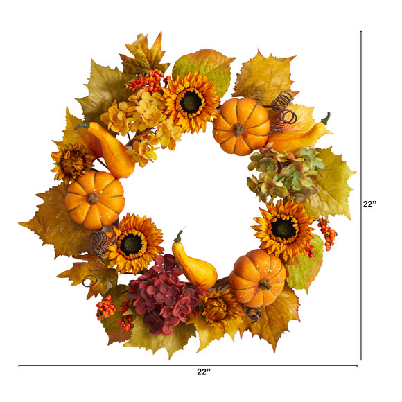 22 Autumn Hydrangea Pumpkin and Sunflower Artificial Fall Wreath - SKU #W1259 - 1