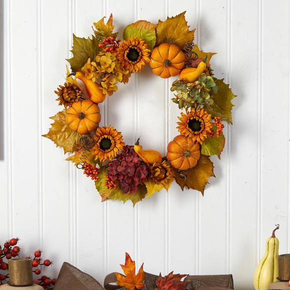 22 Autumn Hydrangea Pumpkin and Sunflower Artificial Fall Wreath - SKU #W1259 - 2