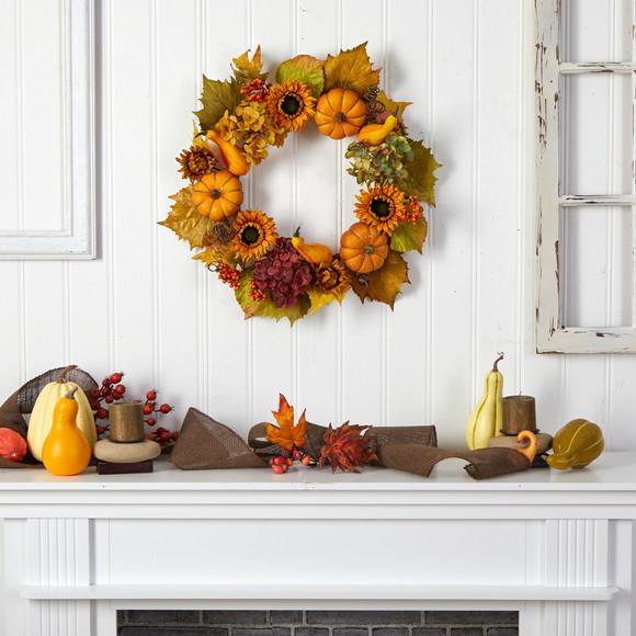 22 Autumn Hydrangea Pumpkin and Sunflower Artificial Fall Wreath - SKU #W1259 - 3
