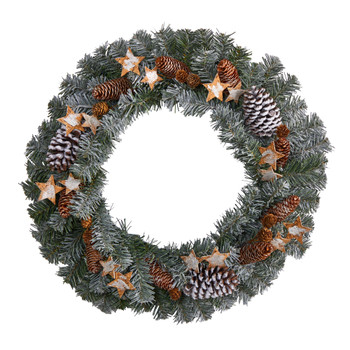 24 Christmas Winter Frosted Stars and Pinecones Holiday Wreath - SKU #W1260