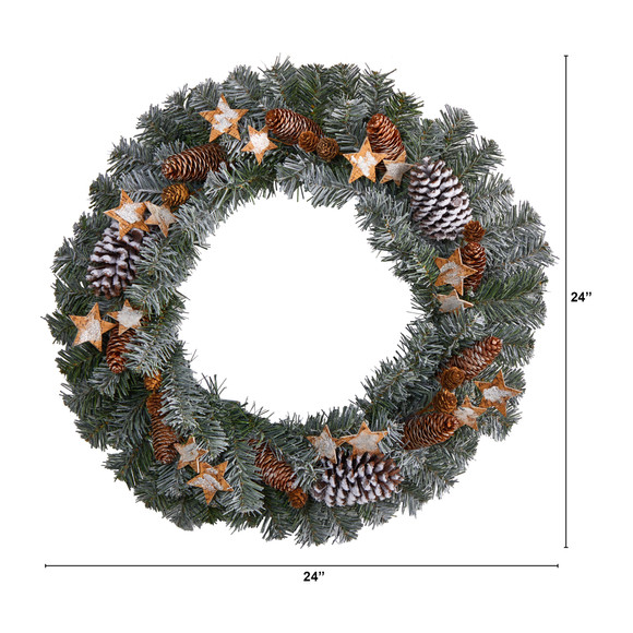 24 Christmas Winter Frosted Stars and Pinecones Holiday Wreath - SKU #W1260 - 1