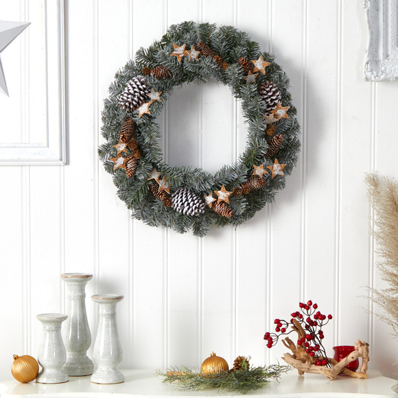24 Christmas Winter Frosted Stars and Pinecones Holiday Wreath - SKU #W1260 - 2