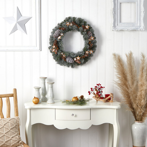 24 Christmas Winter Frosted Stars and Pinecones Holiday Wreath - SKU #W1260 - 3