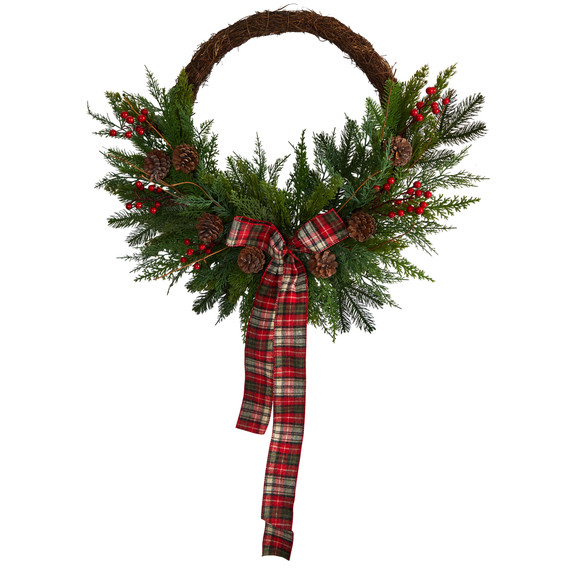 28 Pine and Pinecone Artificial Christmas Wreath with Decorative Bow - SKU #W1261