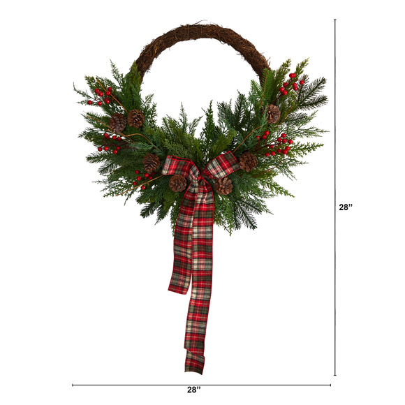 28 Pine and Pinecone Artificial Christmas Wreath with Decorative Bow - SKU #W1261 - 1