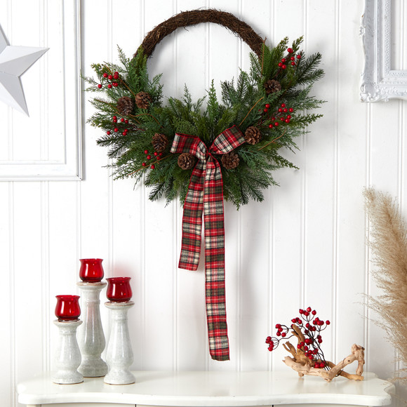 28 Pine and Pinecone Artificial Christmas Wreath with Decorative Bow - SKU #W1261 - 2